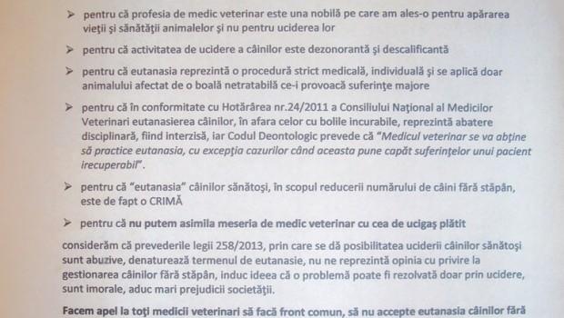 SCRISOARE DESCHISĂ  a Medicilor Veterinari din Piteşti împotriva eutanasiei câinilor şi APELUL lor către medicii veterinari din România să […]