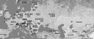 Baze ale politicii de putere germană, harta  Uniunii de grupuri etnice europene (FUEN)