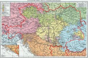 Harta etnică din imperiul Austro-Ungar în urma recensământului din 1890. Românii, reprezentați de culoarea albastră, erau majoritari în Transilvania, Banat, Maramureș și Crișana.