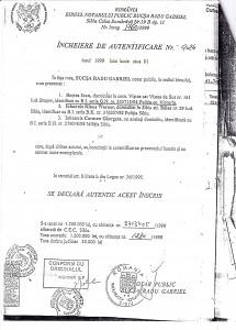Contractul de vânzare-cumpărare încheiat între Baştea Ioan şi soţii Iohannis în aceeași zi cu Certificatul de moștenitor: 1 iunie 1999. Atenție și la suma ridicolă: 50.000.000 (cincizeci milioane) de lei vechi pentru un spațiu comercial care avea să le aducă soților Iohannis venituri de sunte de mii de euro!.