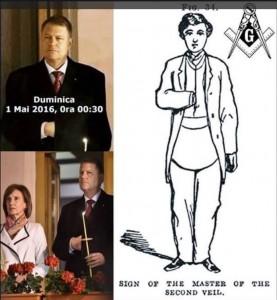 Atitudine de dictator, operația de la umăr sau semn masonic? Oricum, o metodă de eschivare ca să nu-și facă semnul Sfintei Cruci.