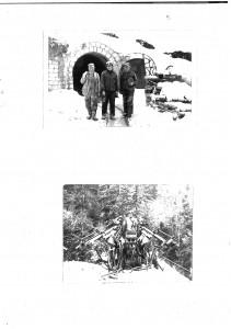 Foto 1: Roșia Montană, în fața unei galerii de acces și un utilaj de forat cu mai multe brațe.