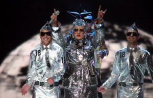 "HELSINKI, FINLAND - MAY 12: Verka Serduchka performs her song ""Dancing Lasha Tumbai Danzing"" at the finals of the 2007 Eurovision Song Contest on May 12, 2007, in Helsinki, Finland. (Photo by Johannes Simon/Getty Images)"