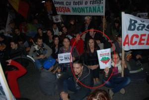 Oana Boc la protestele Roșia Montană de la Cluj.