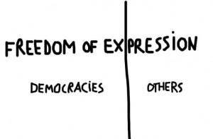 Desen de Dan Perjovschi despre libertatea de exprimare.