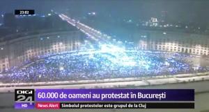 Foto 3 : Digi24 sustine ca in Piata Constitutiei, in seara de 20 ian. 2018, la ora 21:00, erau peste 60.000 de persoane (captura e de la stirea de la ora 23:00).