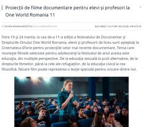 Festivalul One World România vă educă (gratis) copii în spirit sexual progresist LGBT http://www.romaniapozitiva.ro/bucuresti/proiectii-de-filme-documentare-pentru-elevi-si-profesori-la-one-world-romania-11/