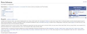 Wikipedia confirmă că Petre Solomon este tatăl lui Alexandru Solomon. Click pe imagine pentru mărire!