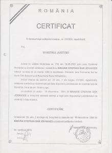 Certificat cetățenie română Braune.