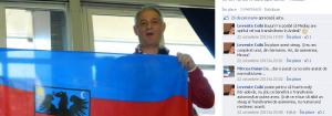"""Agentul de influență Mircea Dăian, din Mediaș, cu steagul Transilvaniei """"independente"""" pe care l-a cumpărat din Germania, aşa cum singur recunoaşte în dialogul cu un separatist de etnie maghiară."""