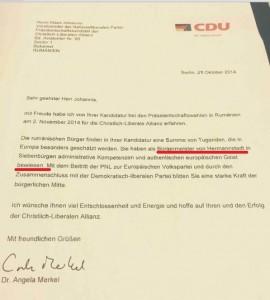 Angela Merkel, cancelarul Germaniei, țară care susține dezmembrarea României, numea Sibiul Hermannstadt și Transilvania Siebenbürgen în anul 2014, când a trimis acest mesaj de susținere candidatului la președinția României Klaus Iohannis . Click pe document pentru mărire!