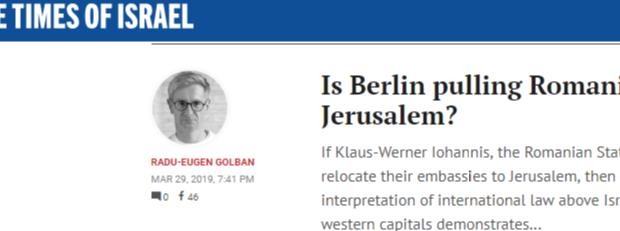 Oare Berlinul trage sfori românești în legatura cu Ierusalimul? Dacă Klaus Werner Iohannis, președintele statului român, Berlinul sau UE […]